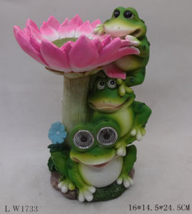 Flower Frog Sculpture Figurine Solar Power Lamp for Garden Decoration pictures & photos