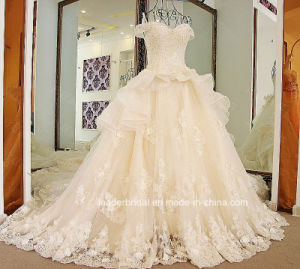 Cap Sleeves Bridal Ball Gowns Beading Organza Wedding Dress Tb279 pictures & photos