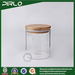 90ml 170ml 300ml 400ml 500ml600ml800ml Borosilicate Vacuum Glass Jar with Rubber Seal Bamboo Wooden Lid for Spice Food Storage pictures & photos