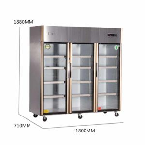 Three Swing Glass Doors Kitchen Refrigerator Display Cooler for Sale pictures & photos