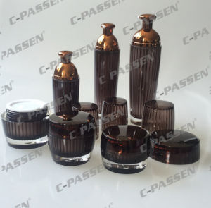 New Arrival Cosmetic Packaging Crystal Brown Acrylic Jar Bottle (PPC-CPS-079) pictures & photos