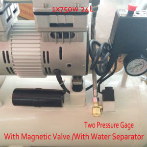 750W 24L with Magnetic Valve Double Pressure Gage Oil-Water Separator Oilless Air Compressor pictures & photos