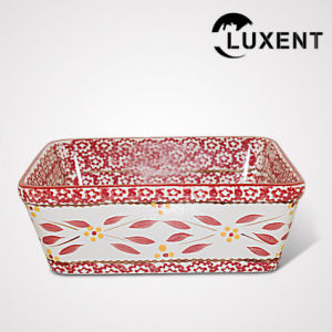 Low Cost Ceramic Banquet Coloured Glaze Square Cake Plate pictures & photos