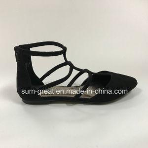 Fashion Simple Flat Leather Black Lady Sandal