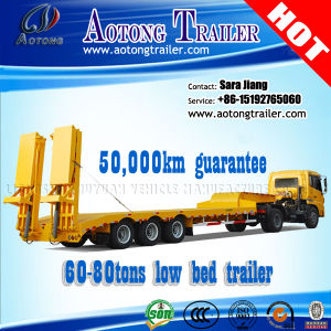 80t Hydraulic Lowbed/Low Deck/ Low Loader Cargo Semi Truck Trailers pictures & photos