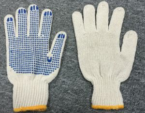 7 Gauge Natural Cotton Blue PVC Dots Glove (SJIE1004) pictures & photos