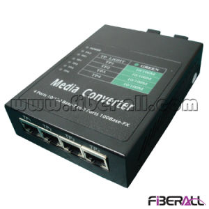10/100m Media Converter Two Fiber Ports Four RJ45 Ports 40km pictures & photos