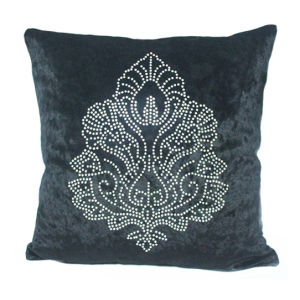 Damask Rhinestone Stud Velvet Decorative Pillow Cover