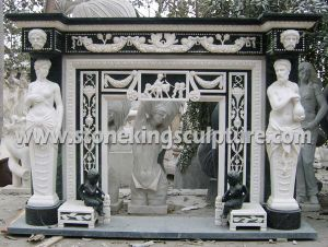 Hand Carved Stone Fireplace (SK-1523) pictures & photos