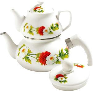 2.0 Liter Enamel Tea Pot W/Lid + 1.0 Liter Porcelain Tea Pot Set