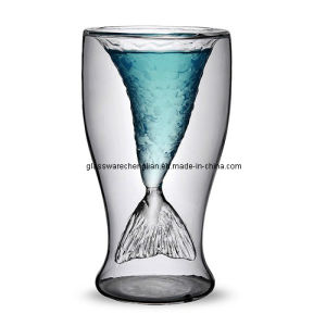 Hand- Made High Borosilicate Double Wall Glass Cup with Marvelous Fish Design (B-DBW17) pictures & photos