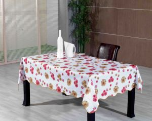 PVC Printed Tablecloth with Flannel Backing (TJ0236-A) pictures & photos