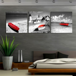 3 Piece Wall Art Seascape Beach Oil Painting on Canvas Prints Red Boat Decorative Pictures for Wall Decoration Mc-249 pictures & photos