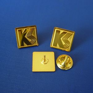 Stamp Logo Gold Plated Badge with Letter (GZHY-LP-014) pictures & photos