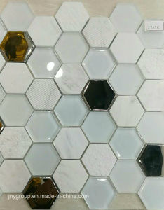 Hexagon Glass Mosaic with Metal Jy53k pictures & photos