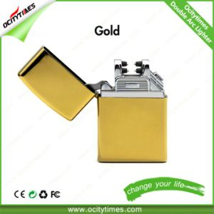 Ocitytimes Gold Electronic Cigarette Lighter Rechargeable Double Arc Lighter pictures & photos