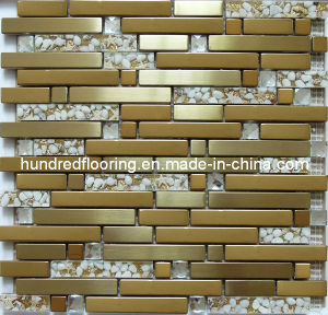 Strip Gold Glass Tile, Mixed Metal Mosaic for Kitchen Backsplash Tile (SM237) pictures & photos