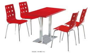 Stainless Steel Leg Red Restaurant Furniture Table and Chair (FOH-XM21-612) pictures & photos
