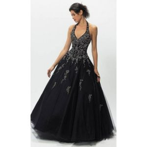 Halter Sweetheart Floor-Length Satin Over Organza Prom Evening Dress Fashion Party Dresses