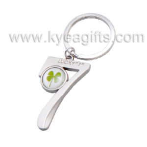 Natural Four Leaf Clover Key Ring