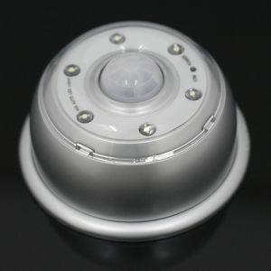 Wireless Motion Sensor PIR Detector Auto 6-LED Light Silver Color