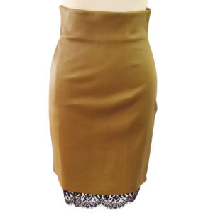 Ladies Fashion Casual Skirt in Sheep Skin Leather