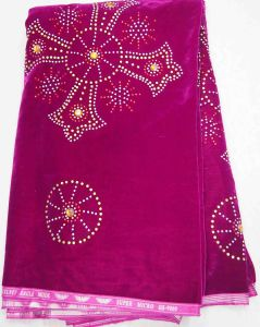 2013 Fashion Velvet Lace Fabric with Crystal Cl4024-Fushia Pink