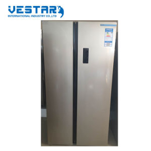 Black Color Defrost Side by Side Refrigerator with Interior Lamp pictures & photos
