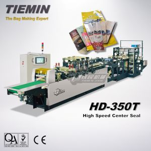 Tiemin High Quality High Speed Automatic Center Seal Bag & Pouch Making Machine HD-350t (Four side, Five side) pictures & photos