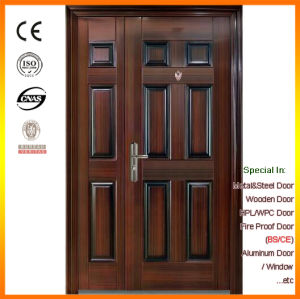 Double Leaf Powder Coated Steel Security Door with Peephole pictures & photos