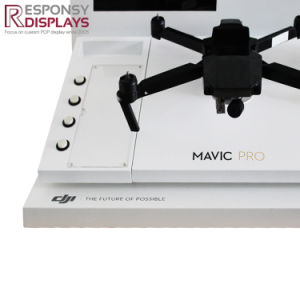 Countertop Metal Uav Unmanned Aerial Vehicles Display Stand Drone Display with LED Screen pictures & photos