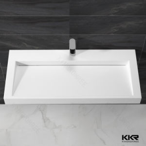 Rectangle Solid Surface Wall Hung/ Cabinet Bathroom Basin pictures & photos