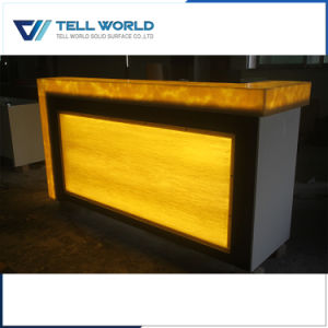 Fashion Design Straight Shaped Bar Counter with Yellow Lighted Top pictures & photos
