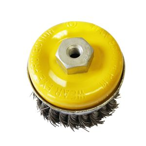 """4"""" (100mm) Heavy Duty Twist Knot Cup Steel Wire Brush with Nut pictures & photos"""