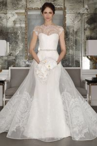 Sweetheart Neckline Sheath Wedding Dress with Organza Over The Dress pictures & photos