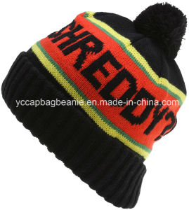 Promotional Winter Jacquard POM POM Knitted Hat pictures & photos