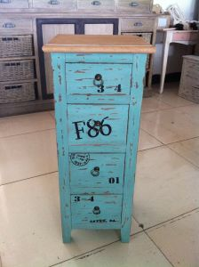 Bright Blue Cabinet with 4 Drawers (FCJ04141)