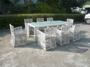 High Quality Outdoor Garden Big Size Rectangle PE-Rattan Dining Chair with Rectangle Table (YT605) pictures & photos