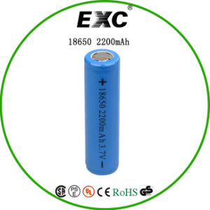 Lithium Ion 18650 3.7V 2200mAh Cylindrical Rechargeable Battery with Tab and Lithium Ion Battery pictures & photos