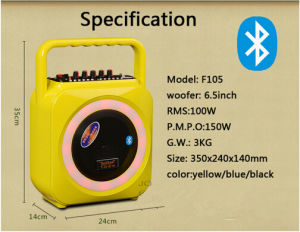 Portable Wireless Mini Bluetooth Speaker with Colorful Injection Material Cover and Handle F105 pictures & photos