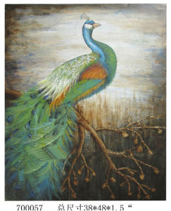Color Spectacle Handmade Canvas Peacock Oil Painting (LH-M170508) pictures & photos