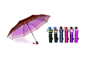 Print Satin 3 Fold Open&Close Umbrellas (YS-3FD22083970R) pictures & photos
