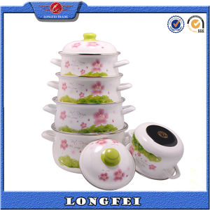 Yiwu Wholesales Full Flower Decal Enamel Cast Iron Pot pictures & photos