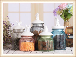 Hot Sell 800ml Glass Food Storage Jar with Ceramic Lid for Kitchenware pictures & photos