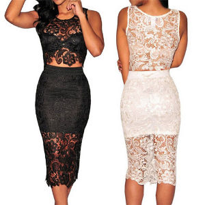 High Quality Two Piece Sexy Ladies Lace Prom Dress (50137) pictures & photos