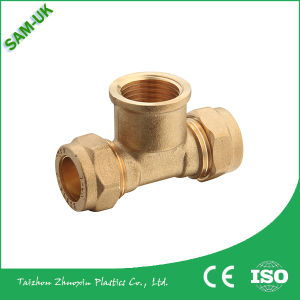 12 16 20 25 mm Brass Tee Compression Fittings with Brass Rings, Copper Brass Coupler, Brass Connector pictures & photos