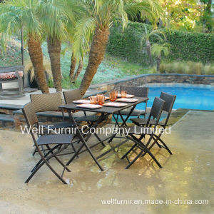 Rattan Dining Chair/ Wicker Table/ 9-Piece Cheap Folded Outdoor Dining Set (WF-21081) pictures & photos