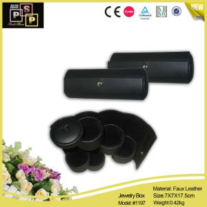 Fashion Cylindrical Middle Black PU Leather Jewelry Box pictures & photos