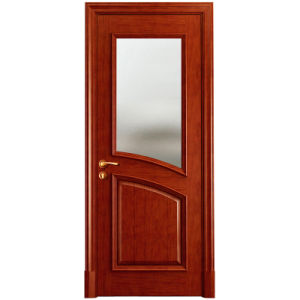 Oppein Brown Cherry Solid Wood Security Door with Glass (MSGD36) pictures & photos