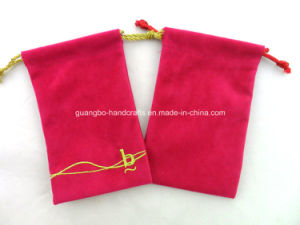 Hot Pink Embroidery Drawstring Pouch Bag pictures & photos